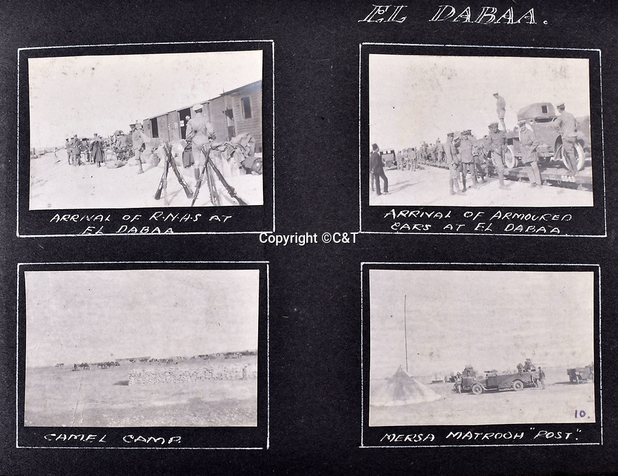 BNPS.co.uk (01202 558833)<br /> Pic: C&T/BNPS<br /> <br /> The RNAS armoured car division was re-equipped and sent west to Mersa Matrouh where a Ottoman instigated uprising of the Senussi tribe had to be put down.<br /> <br /> Never before seen photos of the disastrous Gallipoli campaign have come to light over a century later.<br /> <br /> The fascinating snaps were taken by Sub Lieutenant Gilbert Speight who served in the Royal Naval Air Service in World War One.<br /> <br /> They feature in his photo album which covers his eventful war, including a later stint in Egypt.<br /> <br /> There are dramatic photos of the Allies landing at X Beach, as well as sobering images of a mass funeral following the death of 17 Brits. Another harrowing image shows bodies lined up in a mass grave.<br /> <br /> The album, which also shows troops during rare moments of relaxation away from the heat of battle, has emerged for sale with C & T Auctions, of Ashford, Kent. It is expected to fetch £1,500.