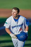 Chris Roller (41) of the Ogden Raptors smiles after hitting a home run against the Grand Junction Rockies at Lindquist Field on June 25, 2018 in Ogden, Utah. The Raptors defeated the Rockies 5-3. (Stephen Smith/Four Seam Images)