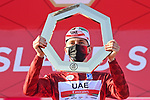 Tadej Pogacar (SLO) UAE Team Emirates takes the overall victory at the end of Stage 7 of the 2021 UAE Tour running 165km from Yas Island to Abu Dhabi Breakwater, Abu Dhabi, UAE. 27th February 2021.<br /> Picture: LaPresse/Fabio Ferrari   Cyclefile<br /> <br /> All photos usage must carry mandatory copyright credit (© Cyclefile   LaPresse/Fabio Ferrari)