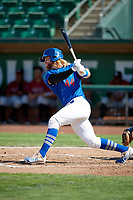 Garrett Hope (44) of the Ogden Raptors bats against the Idaho Falls Chukars in Pioneer League action at Lindquist Field on July 2, 2017 in Ogden, Utah. Ogden defeated Idaho Falls 6-5. (Stephen Smith/Four Seam Images)