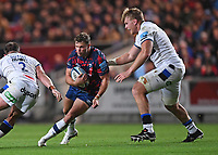 1st October 2021;  Ashton Gate Stadium, Bristol, South Gloucestershire, England; Gallagher Premier League rugby, Bristol Bears versus Bath Rugby: Josh McNally and Jacques du Toit of Bath tackle Sam Bedlow of Bristol Bears