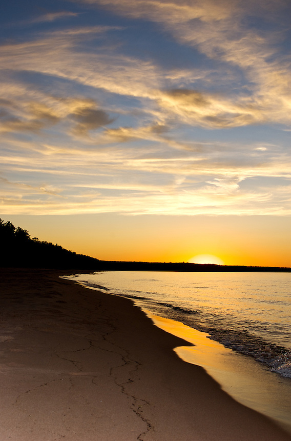The sun setting on a summer day in the Upper Peninsula of Michigan.