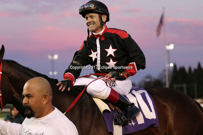 LOUISVILLE, KY -NOV 24: Jockey Jon Court on Hailstorm Slew after winning the 13th running of the Dream Supreme at Churchill Downs, Louisville, Kentucky. Owner C.R. Trout, trainer is owner C.R. Trout. By Munnings x Successful Slew, by Successful Appeal. (Photo by Mary M. Meek/Eclipse Sportswire/Getty Images)