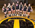 August 17, 2016- Tuscola, IL- The 2016 Tuscola Warrior Volleyball Seniors. From left are Kara O'Hearn, Caylen Moyer, Abbey Walsh, Maddie Allen, Kaiya Clodfelder, Ashley Bartley, and Rachel Mannen. [Photo: Douglas Cottle]
