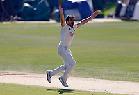 Grant Stewart of Kent celebrates taking the wicket of Ed Barnard during Kent CCC vs Worcestershire CCC, LV Insurance County Championship Division 3 Cricket at The Spitfire Ground on 7th September 2021