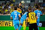 09.08.2019, Merkur Spiel-Arena, Düsseldorf, GER, DFB Pokal, 1. Hauptrunde, KFC Uerdingen vs Borussia Dortmund , DFB REGULATIONS PROHIBIT ANY USE OF PHOTOGRAPHS AS IMAGE SEQUENCES AND/OR QUASI-VIDEO<br /> <br /> im Bild | picture shows:<br /> Kopfballduell zwischen Mats Hummels (Borussia Dortmund #15) und Franck Evina (KFC Uerdingen #18), <br /> <br /> Foto © nordphoto / Rauch