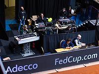 Den Bosch, The Netherlands, Februari 10, 2019,  Maaspoort , FedCup  Netherlands - Canada, doubles match Sunday : Technical corner<br /> Photo: Tennisimages/Henk Koster