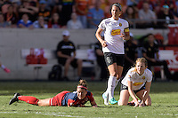 Houston, TX - Sunday Oct. 09, 2016: Christine Nairn, Abby Erceg, Samantha Mewis during the National Women's Soccer League (NWSL) Championship match between the Washington Spirit and the Western New York Flash at BBVA Compass Stadium. The Western New York Flash win 3-2 on penalty kicks after playing to a 2-2 tie.