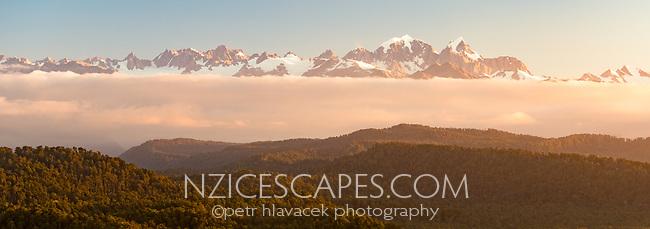 Mount Tasman and Aoraki Mount Cook at sunset, Westland Tai Poutini National Park, West Coast, UNESCO World Heritage Area, New Zealand, NZ