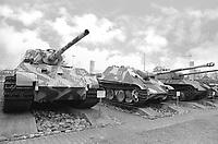 - Switzerland, the tank museum in Thun (Bern), German World War II tanks Panzer VI auf B Tiger II (Königstiger), Jagdpanther and Panzer V Panther.<br /> <br /> <br /> <br /> - Svizzera, il museo dei carri armati di Thun (Berna), carri armati tedeschi della Seconda Guerra Mondiale Panzer VI auf B Tiger II (Königstiger), Jagdpanther e Panzer V Panther.