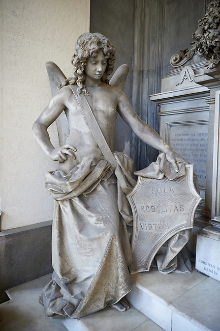 Picture and image of the stone sculpture of Giuseppe Ratto looking down on his grieving wife with an angel in a Borgeois Realistic style. The Ratto Family Tomb sculpted by L Orengo in 1890. Section D no 30 the monumental tombs of the Staglieno Monumental Cemetery, Genoa, Italy