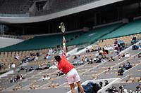 5th June 2021; Roland Garros, Paris France; French Open tennis championships day 7;   Novak DJOKOVIC of Serbia serves against Ricardas BERANKIS of Lituania