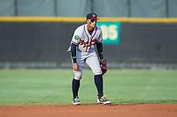 Danville Braves shortstop Kevin Maitan (26) on defense against the Burlington Royals at Burlington Athletic Stadium on August 15, 2017 in Burlington, North Carolina.  The Royals defeated the Braves 6-2.  (Brian Westerholt/Four Seam Images)