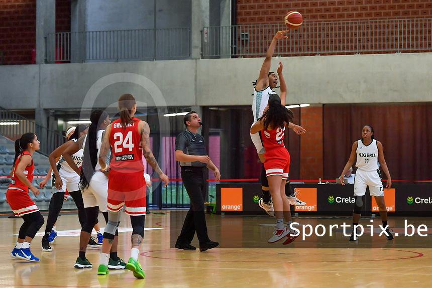 Pallas Kunaiyi-Akpanah (3) of Nigeria and Isalys Quinones (25) of Puerto Rico starting the basketball game between Nigeria and Puerto Rico on Friday 28 th of May 2021 in Kortrijk , Belgium . PHOTO SPORTPIX.BE   SPP   STIJN AUDOOREN