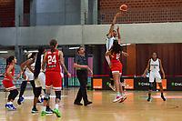 Pallas Kunaiyi-Akpanah (3) of Nigeria and Isalys Quinones (25) of Puerto Rico starting the basketball game between Nigeria and Puerto Rico on Friday 28 th of May 2021 in Kortrijk , Belgium . PHOTO SPORTPIX.BE | SPP | STIJN AUDOOREN