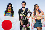 (L to R) Camila Cabello, Lauren Jauregui and Ally Brooke, members of the American five-piece girl group Fifth Harmony attend a fan event on July 9, 2016, in Tokyo, Japan. Fifth Harmony is in Japan for the first time to promote their new song Work from Home after finishing their South American tour. (Photo by Rodrigo Reyes Marin/AFLO)