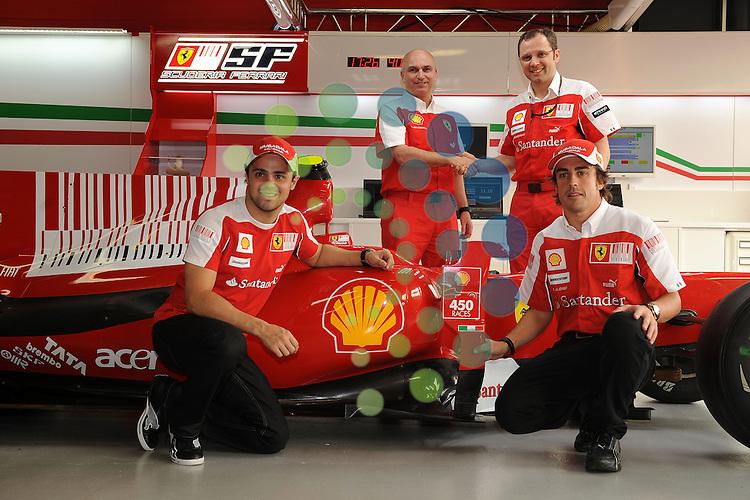 F1 GP of Australia, Melbourne 26. - 28. March 2010.Felipe Massa (BR), Fernando Alonso (SPA), Stefano Domenicali (ITA), Scuderia Ferrari Director of the Gestione Sportiva.Shell 450 races..Picture: Hasan Bratic/Universal News And Sport (Europe) 26 March 2010.