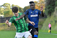 Ashlen Stroud of the Wainuiomata AFC competes for the ball with Joao Moreira of the Miramar Rangers during the Central League Football - Miramar Rangers AFC v Wainuiomata AFC at David Farrington Park, Wellington, New Zealand on Saturday 17 April 2021.<br /> Copyright photo: Masanori Udagawa /  www.photosport.nz