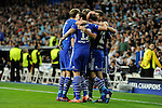 FC Shalke 04´s players celebrates a goal during 2014-15 Champions League match between Real Madrid and FC Shalke 04 at Santiago Bernabeu stadium in Madrid, Spain. March 10, 2015. (ALTERPHOTOS/Luis Fernandez)