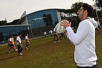 .Roma 30/1/2013 Centro di Preparazione Olimpica Acqua Acetosa Giulio Onesti.La nazionale italiana di pallanuoto, Settebello, in visita alla nazionale italiana di Rugby.Foto Andrea Staccioli Insidefoto