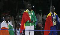 VillËs Jeux de la Francophonie Abidjan 2017 / CompÈtitions Sportives Lutte Africaine finale des Femmes mÈdaille d'OR Nahami Sanbou ( C ) du SÈnÈgal parc des Sport de Treichville, Minji HervÈ CÙte d'Ivoire en ceinture rouge et Mamadou du Niger en ceinture bleu / Abidjan 29 juillet 2017 # 8EME JEUX DE LA FRANCOPHONIE D'ABIDJAN 2017
