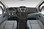 Stock photo of straight dashboard view of a 2015 Ford Transit 250 Van Med Roof Sliding Pass. 130 WB 2 Door Van Dashboard