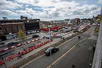Pictured: A general view of road construction works on the Kingsway, in Swansea city centre, Wales, UK.  Friday 12 July 2019 <br /> Re: General view of Swansea city centre, Wales, UK.