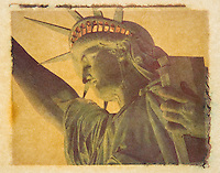 Polaroid Transfer Photograph of the Statue of Liberty, Upper New York Bay, New York City, New York State, USA<br /> <br /> AVAILABLE FOR COMMERCIAL OR EDITORIAL LICENSING FROM MY STOCK AGENT GETTY IMAGES.  Please go to www.gettyimages.com and search for image # 482706719.