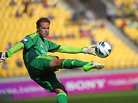 Mark Paston clears during the A-League football round 12 match between Wellington Phoenix and Central Coast Mariners at Westpac Stadium, Wellington, New Zealand on Saturday, 22 December 2012. Photo: Dave Lintott / lintottphoto.co.nz