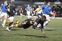 Photo: Richard Lane/Richard Lane Photography. London Wasps v Leinster Rugby. Amlin Challenge Cup Quarter Final. 05/04/2013. Wasps' Christian Wade dives in for a try.