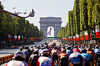 18th July 2021; Paris, France;  Illustration of peloton at the Champs Elysees during stage 21 of the 108th edition of the 2021 Tour de France cycling race, the stage of 108,4 kms between Chatou and finish at the Champs Elysees in Paris.