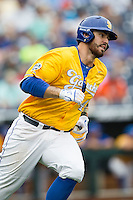 UC Santa Barbara Gauchos first baseman Austin Bush (44) runs to first base against the Miami Hurricanes in Game 5 of the NCAA College World Series on June 20, 2016 at TD Ameritrade Park in Omaha, Nebraska. UC Santa Barbara defeated Miami  5-3. (Andrew Woolley/Four Seam Images)