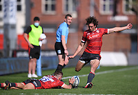 24th April 2021; Kingsholm Stadium, Gloucester, Gloucestershire, England; English Premiership Rugby, Gloucester versus Newcastle Falcons; Lloyd Evans of Gloucester converts his own try with the ball stabilised in the wind by Kyle Moyle