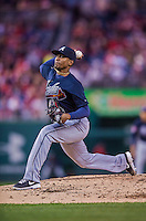 5 April 2014: Atlanta Braves starting pitcher Julio Teheran on the mound against the Washington Nationals at Nationals Park in Washington, DC. The Braves defeated the Nationals 6-2 to take the second game of their 3-game series. Mandatory Credit: Ed Wolfstein Photo *** RAW (NEF) Image File Available ***
