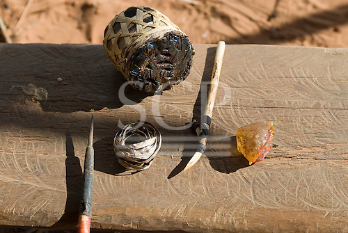 Xingu Indigenous Park, Mato Grosso State, Brazil. Aldeia Moygu (Ikpeng). Tools and materials for making arrows; resin for glue and poison.