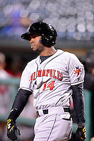 Indianapolis Indians outfielder Oscar Tejeda #14 on deck during a game against the Louisville Bats on April 19, 2013 at Louisville Slugger Field in Louisville, Kentucky.  Indianapolis defeated Louisville 4-1.  (Mike Janes/Four Seam Images)