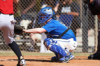 Illinois College Blueboys catcher Kevin Bonnett (14) awaits the pitch during a game against the Edgewood Eagles on March 14, 2017 at Terry Park in Fort Myers, Florida.  Edgewood defeated Illinois College 11-2.  (Mike Janes/Four Seam Images)