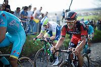 Jempy Drucker (LUX/BMC) up the Koppenberg<br /> <br /> 100th Ronde van Vlaanderen 2016