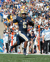 Pitt running back Chris James. The Pitt Panthers football team defeated the Virginia Cavaliers 26-19 on Saturday October 10, 2015 at Heinz Field, Pittsburgh, Pennsylvania.