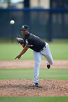 GCL Marlins relief pitcher Edison Suriel (13) delivers a pitch during a game against the GCL Astros on August 5, 2018 at FITTEAM Ballpark of the Palm Beaches in West Palm Beach, Florida.  GCL Astros defeated GCL Marlins 2-1.  (Mike Janes/Four Seam Images)