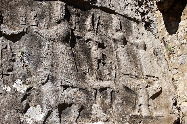 Depictions of gods on the end relief panel of the 13th century BC Hittite religious rock carvings of Yazılıkaya Hittite rock sanctuary, chamber A, Hattusa, Bogazale, Turkey.