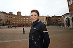 Elisa Longo Borghini (ITA) Wiggle Honda team in Piazza Il Campo, Siena, previews the 2015 Strade Bianche Women Elite cycle race 103km over the white gravel roads from San Gimignano to Siena, Tuscany, Italy. 16th January 2015<br /> Photo: ANSA/www.newsfile.ie