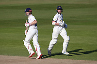 Sam Hain (L) and Rob Yates add another run as they close in on victory for Warwickshire during Warwickshire CCC vs Essex CCC, LV Insurance County Championship Group 1 Cricket at Edgbaston Stadium on 25th April 2021