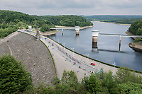 thinned out peloton crossing the Gileppe Dam<br /> <br /> Ster ZLM Tour (2.1)<br /> Stage 4: Hotel Verviers > La Gileppe (Jalhay)(190km)