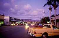 Twilight in downtown Kaunakakai, the small main town on the island of Molokai