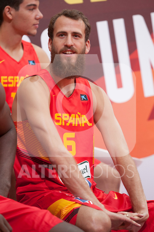 Sergio Rodriguez during the official presentation of Spain´s basketball team for the 2014 Spain Basketball Championship in Madrid, Spain. July 24, 2014. (ALTERPHOTOS/Victor Blanco)