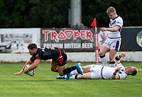 Jarrod Sammut of London Broncos breaks the Thunder defence to score his try during the Betfred Championship match between London Broncos and Newcastle Thunder at The Rock, Rosslyn Park, London, England on 9 May 2021. Photo by Liam McAvoy.