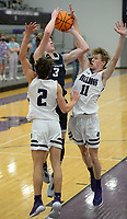 Bentonville West's Dawson Price (3) takes a shot in the lane Tuesday, Jan. 5, 2021, as Fayetteville's Jack Erck (2) and Paiden Pope (11) defend during the first half of play in Bulldog Arena in Fayetteville. Visit nwaonline.com/210106Daily/ for today's photo gallery. <br /> (NWA Democrat-Gazette/Andy Shupe)