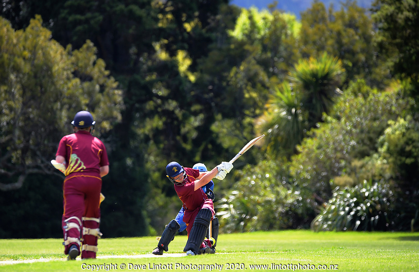 Action from the Ewen Chatfield Trophy Wellington premier men's division one cricket one-day match between Upper Hutt United and Hutt District at Trentham Memorial Park in Upper Hutt, New Zealand on Saturday, 24 October 2020. Photo: Dave Lintott / lintottphoto.co.nz