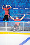 Greg Westlake and Brad Bowden, Sochi 2014 - Para Ice Hockey // Para-hockey sur glace.<br /> Canada's Para Ice Hockey team practices before the games begin // L'équipe canadienne de para hockey sur glace s'entraîne avant le début des matchs. 01/03/2014.